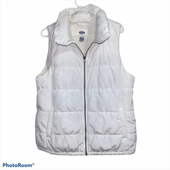 Old Navy Large White Puff Vest